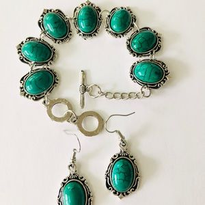 Set Turquoise Antique handmade  bracelet